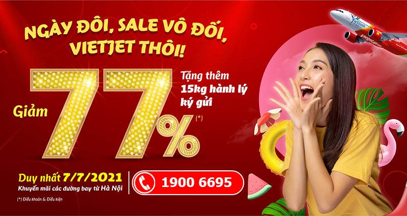 Khuyến mãi ngày 7/7 Vietjet Air sale 77% giá vé máy bay